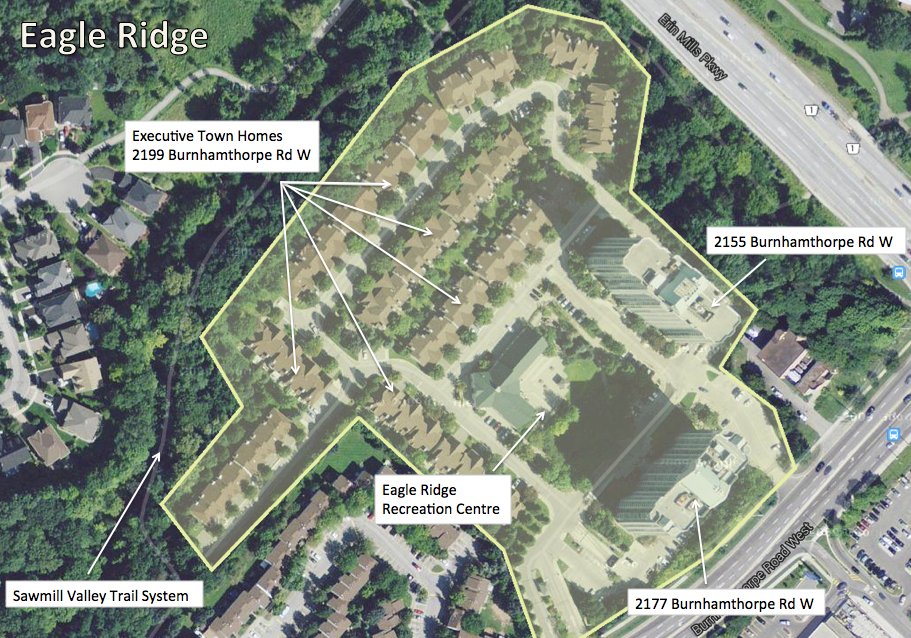 Arial view of Eagle Ridge, Mississauga
