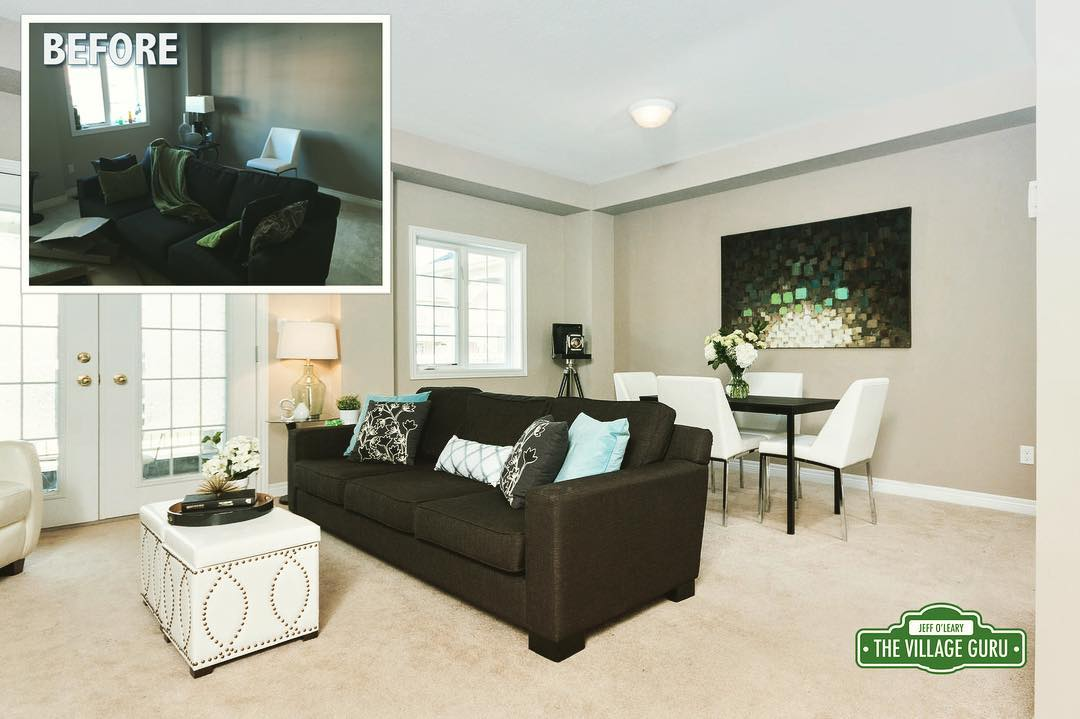 Before This open concept livingdining space was monotone bland andhellip