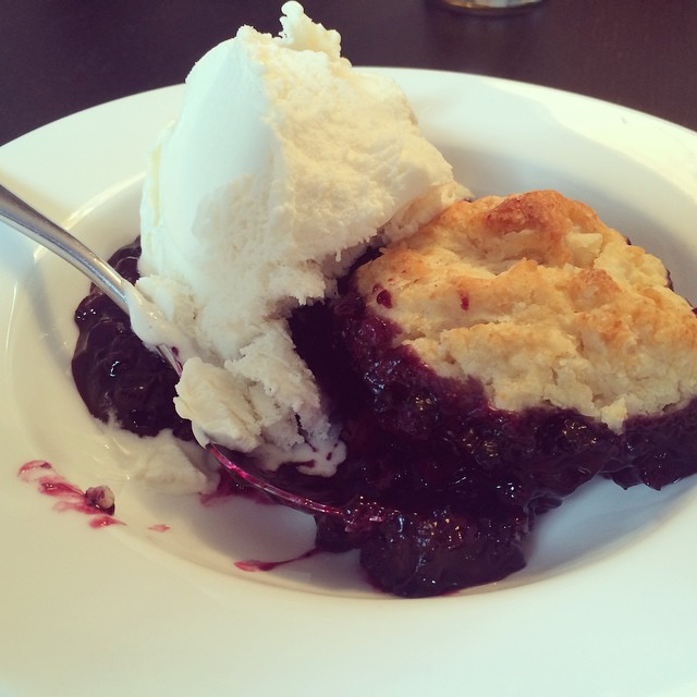 Mom's blueberry cobbler... bam!!! #awesome #thevillageguru