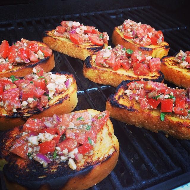 First course: BBQ bruschetta bread! #foodporn